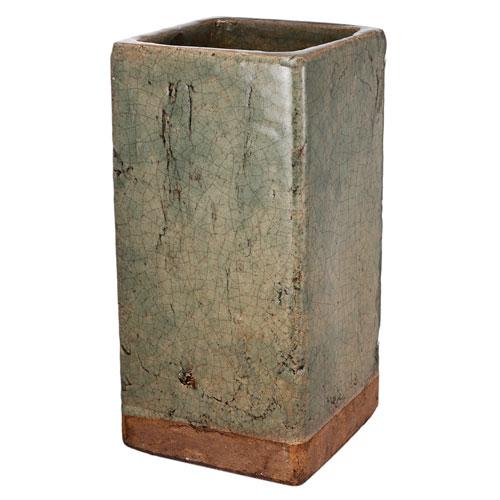 Green and Brown Ceramic Square Vase