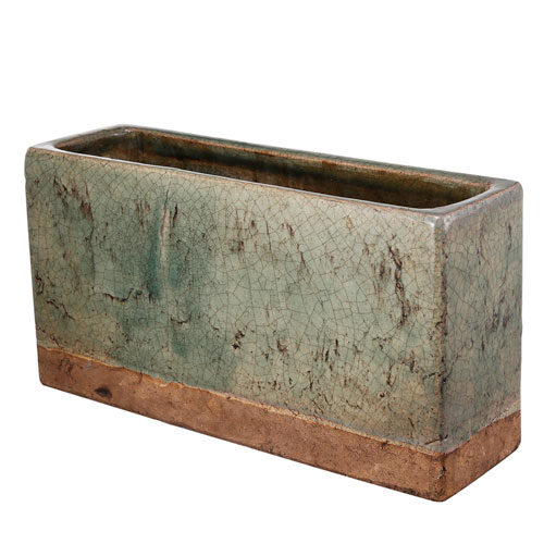 Green and Brown Rectangular Planter