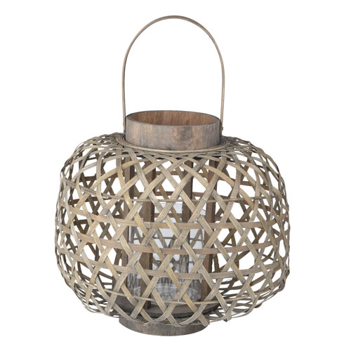 Coconio Wood Lattice Round Lantern
