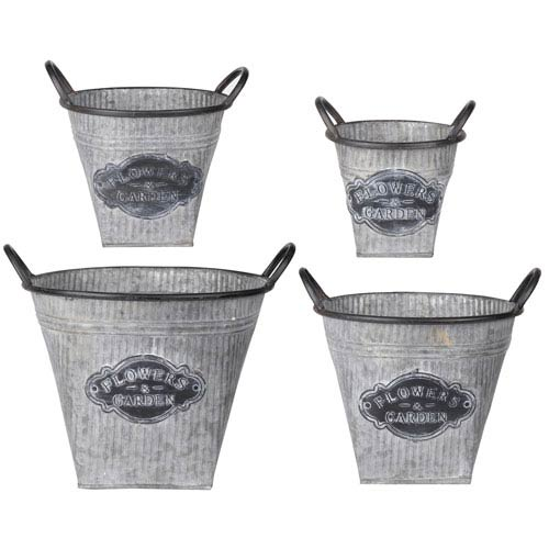 Flowers Oval Metal Planters, Set of Four
