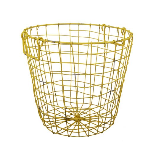 A B Home Antique Yellow Grafton Round Wire Basket
