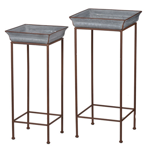 c253924e99e8 A & B Home Grey Metal Plant Stand, Set Of Two D42545 | Bellacor