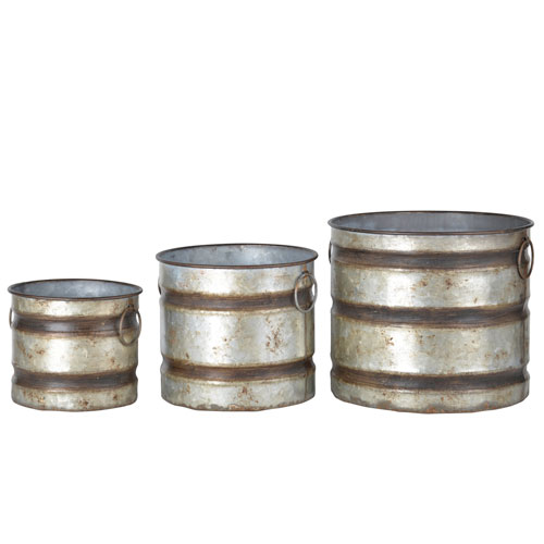 Grey Metal Planter, Set of Three