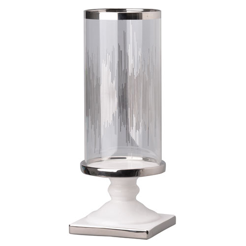 Silver and White Candle Holder with Glass