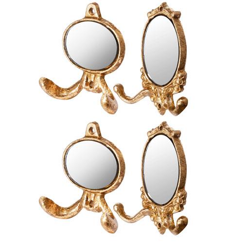 Gold Mini Mirror Wall Hooks