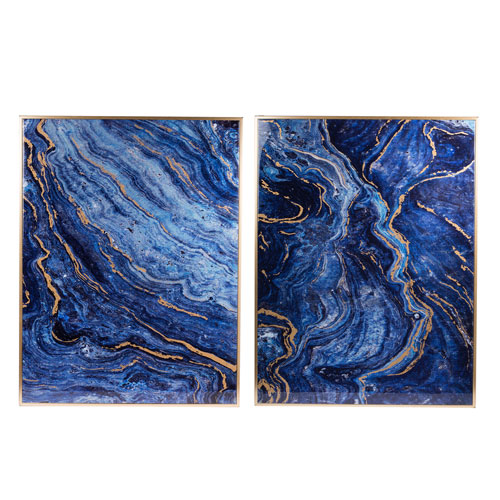 Blue Marbled Framed Wall Décor Panels, Set of Two