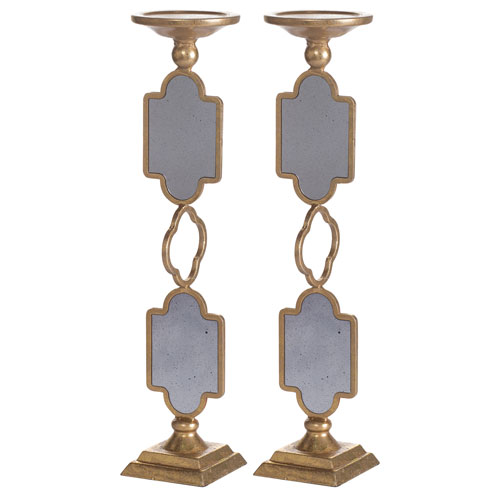 A & B Home Cleo Grand Candle Holder, Set of Two
