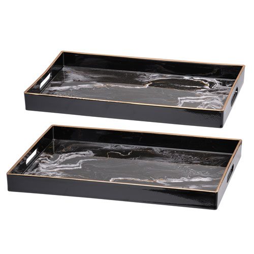 A & B Home Effra Black Marbled Rectangular Trays, Set of Two