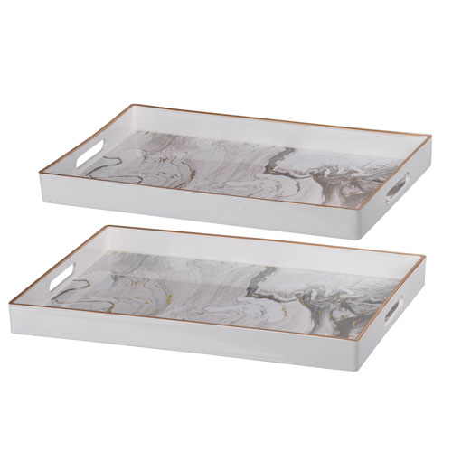 Effra White Marbled Rectangular Trays, Set of Two