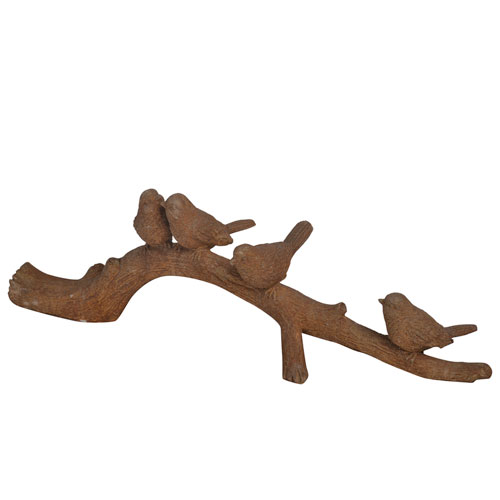 A & B Home Rust Brown Bird on Branch Décor