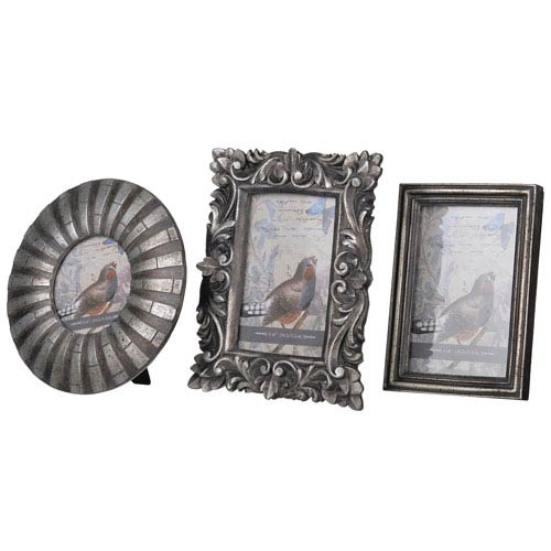A & B Home Sarival Antique Silver Frames, Set Of Three Hp76306 ...