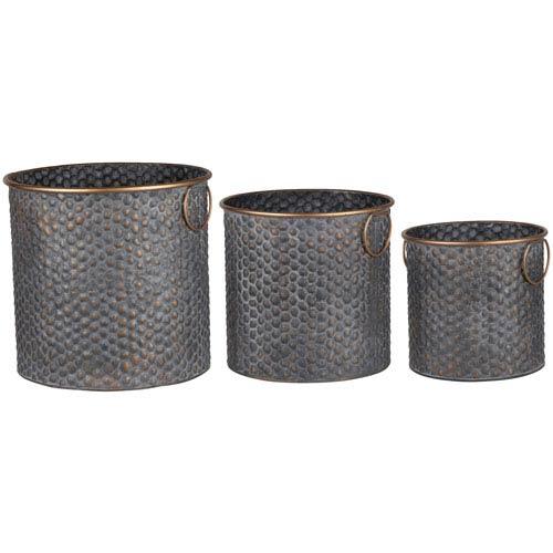 Seneca Copper Band Metal Planters, Set of Three
