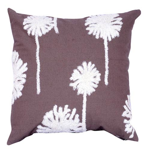 Brown 18-Inch Embroidered Pillow