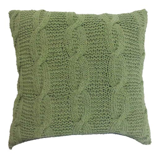 Green 18-Inch Cable Knit Pillow
