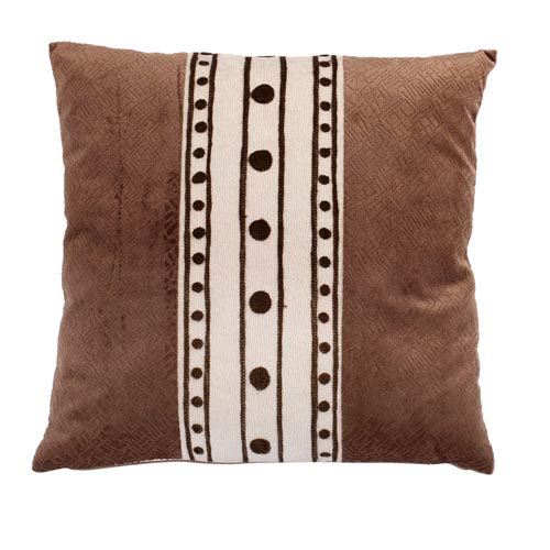 Chesterfield Brown 18-Inch Embroidered Pillow