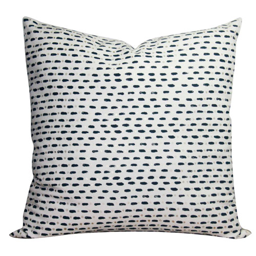 Blue and Gold Dot 22 In. Throw Pillow