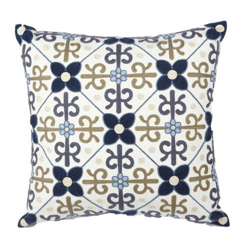 Venetucci Collection Multicolor 18-Inch Embroidered Pillow