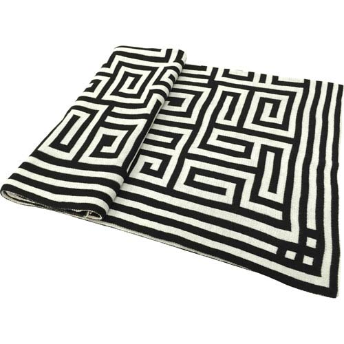 Venetucci Collection Black and White Acrylic Chevron Jacquard Throw