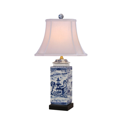 Porcelain Ware One-Light Blue and White Jar Lamp