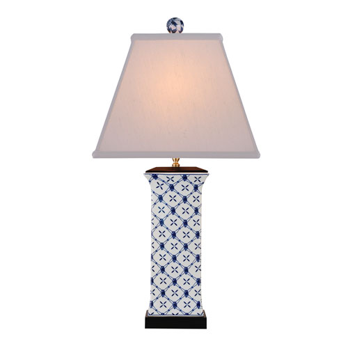 Porcelain Ware One-Light Blue and White Vase Lamp