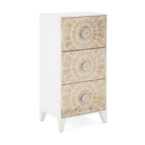 Marigold White and Beige Carved Cabinet