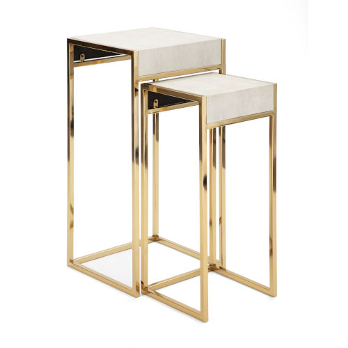 Ragala Gold and White Nesting Table, Set of 2
