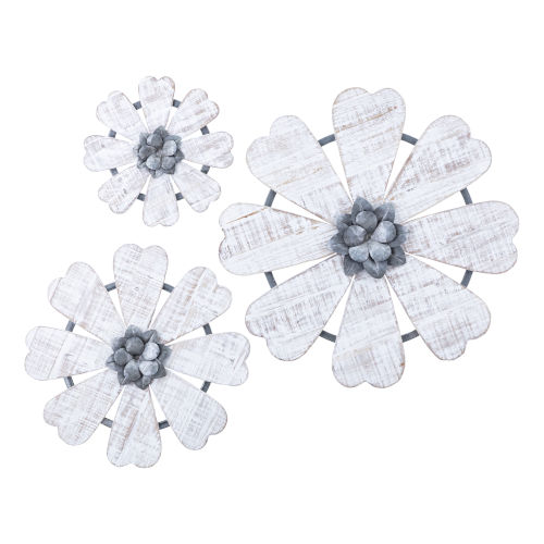 Loraine White and Gray Wall Flower, Set of 3