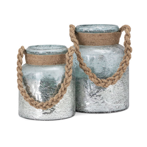 Roald Gray and Brown Lantern with Braided Rope Handle, Set of 2