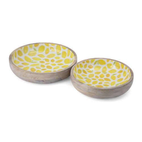 Lemon Yellow and Beige Wooden Tray, Set of 2