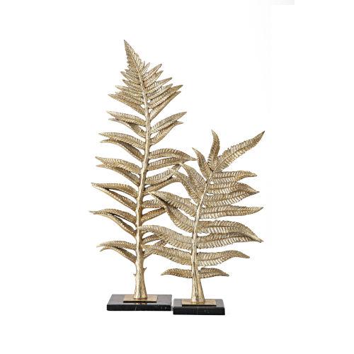 Bellamy Gold Fern Statuaries, Set of 2