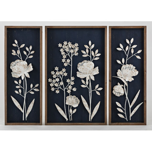 Martha Black and White Dimensional Wall Décor, Set of 3