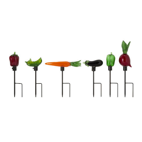 Multicolor Veggie Shaped Garden Stakes, Set of 6