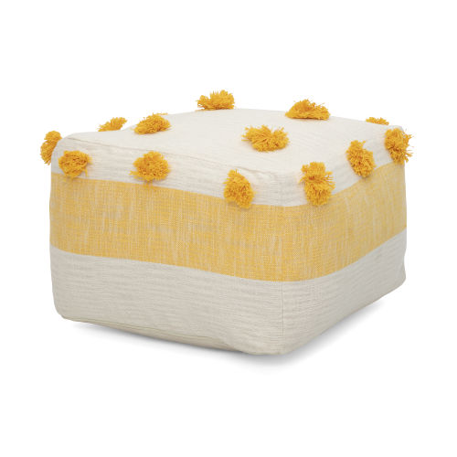 Ada Yellow and White Pouf