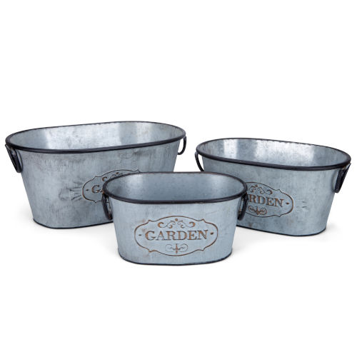 Marin Gray and Black Oval Planter, Set of 3