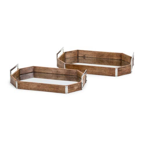New Frontier Wood and Mirror Decorative Trays, Set of 2