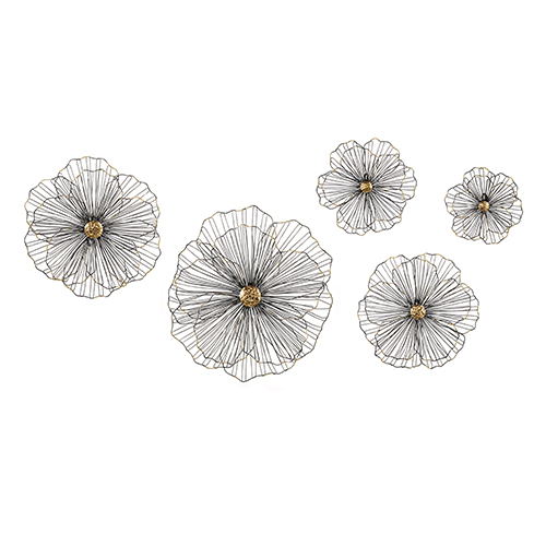 Gray Wire Hibiscus Wall Decor, Set of Five