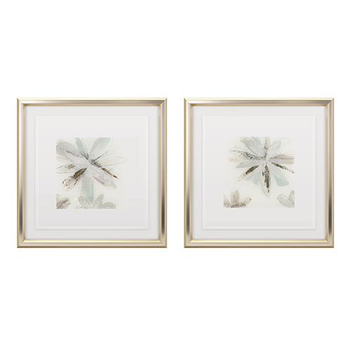 Multicolor Floral Floating Acrylic Framed Wall Decor, Set of Two