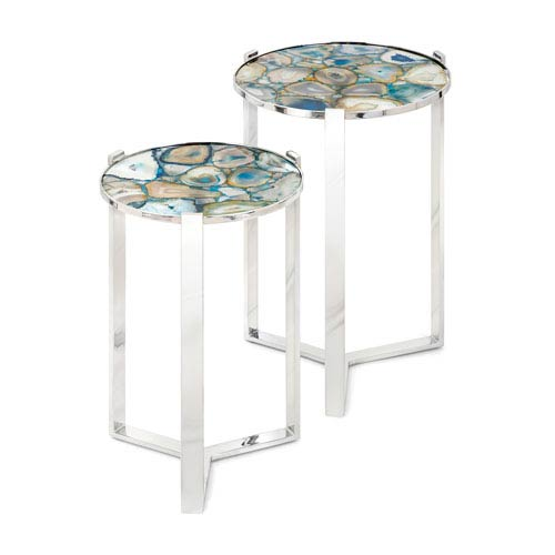 Nakasa Agate Blue Stone Round Tables, Set of 2