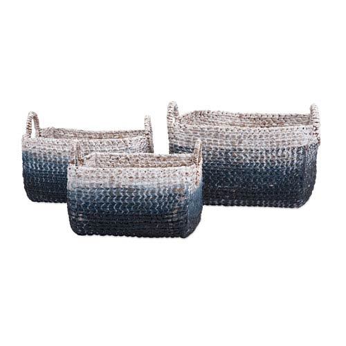 Cascade Blue and White Woven Water Hyacinth Basket, Set of Three
