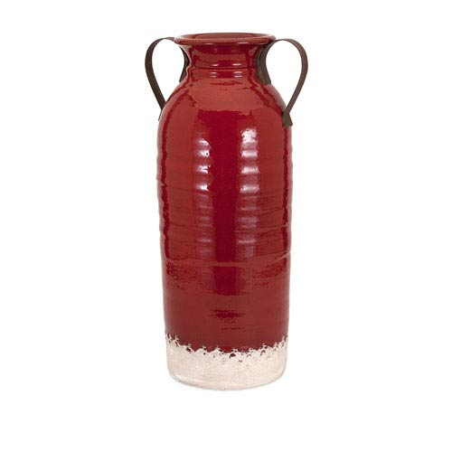 Imax Vermont Red Large Vase With Metal Handles 13601 Bellacor