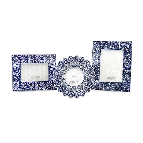 Lucenda Blue and White Ceramic Frames, Set of Three