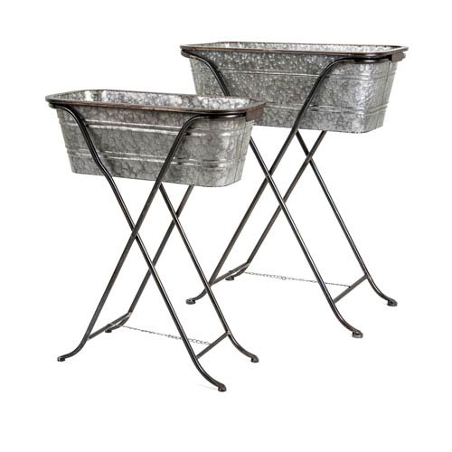 Blaklin Galvanized Planters on Stand, Set of 2