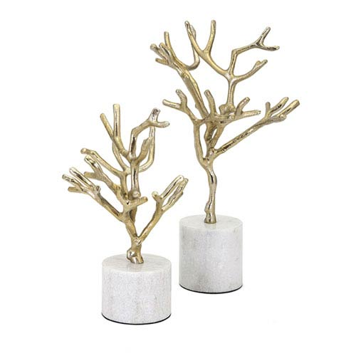 IMAX Concepts Eden Trees on Marble Base, Set of 2