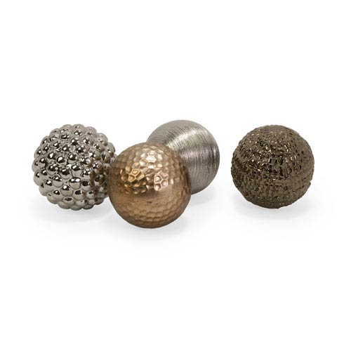 IMAX Metallic Finished Orbs - Set of Four