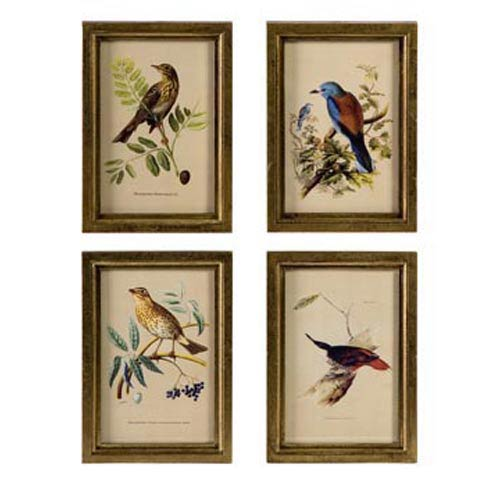 Wooden Bird Plaques, Set of Four
