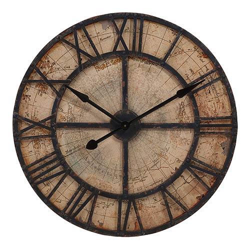 Brown Bryan Map Wall Clock