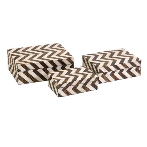 Zig Zag Bone Inlay Boxes - Set of Three