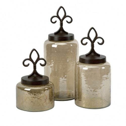 IMAX Fleur De Lis Lidded Jars - Set of Three