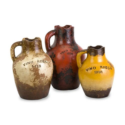 Vino Rosa Terracotta Vases with Handle, Set of 3