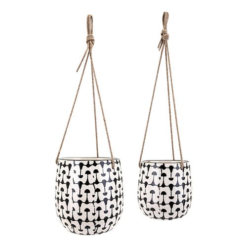Watford Hanging Planters - Set of 2 in Black